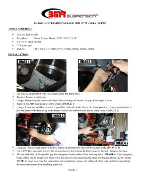 BMR Installation Instructions for BCP001