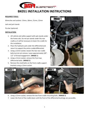 BMR Installation Instructions for BK051