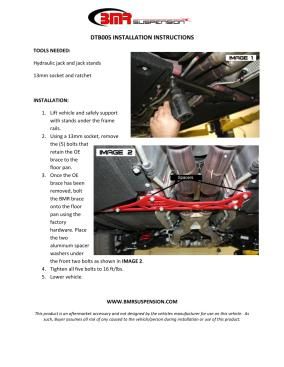 BMR Installation Instructions for DTB005