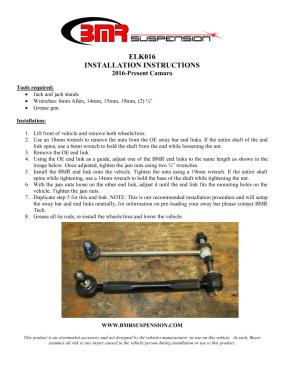 BMR Installation Instructions for ELK016