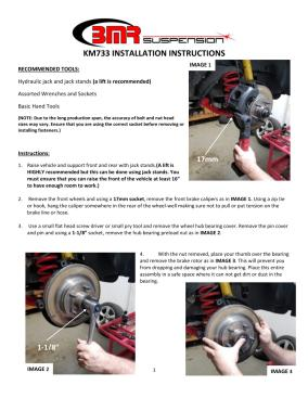 BMR Installation Instructions for KM733