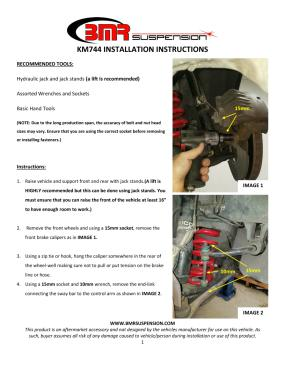 BMR Installation Instructions for KM744