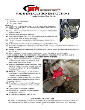 BMR Installation Instructions for MM340