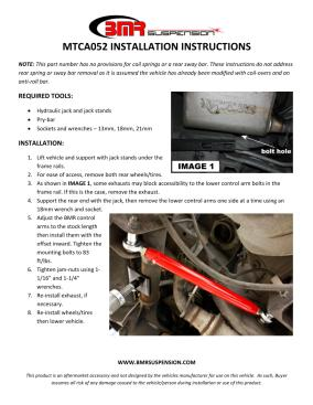 BMR Installation Instructions for MTCA052