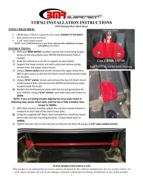 BMR Installation Instructions for STB762