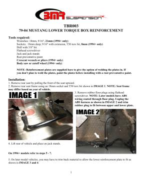 BMR Installation Instructions for TBR003