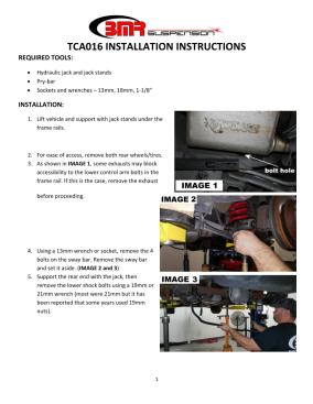 BMR Installation Instructions for TCA017