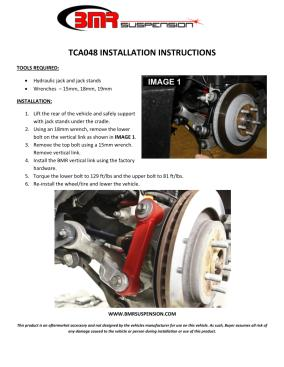 BMR Installation Instructions for TCA048