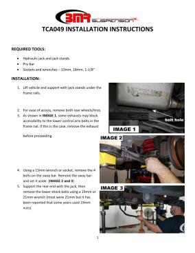 BMR Installation Instructions for TCA049
