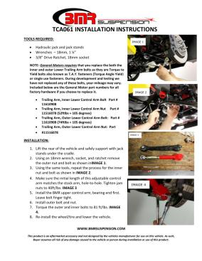 BMR Installation Instructions for TCA061