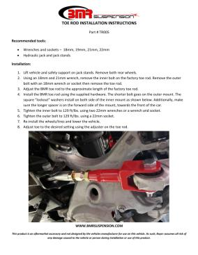 BMR Installation Instructions for TR005