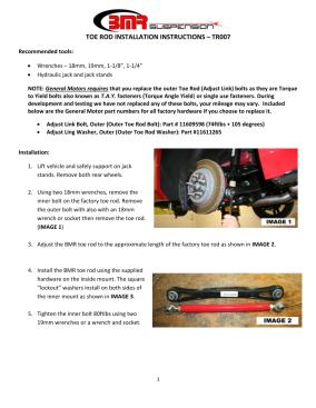 BMR Installation Instructions for TR007