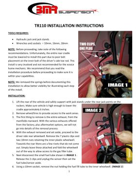 BMR Installation Instructions for TR110