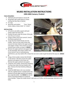 BMR Installation Instructions for WL002