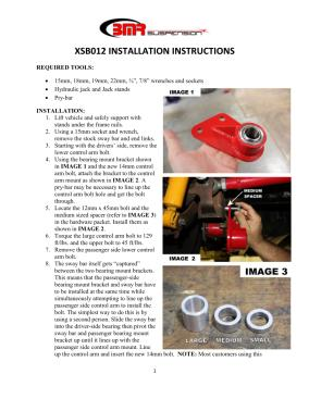 BMR Installation Instructions for XSB012